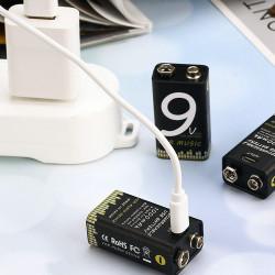 Tipo de bateria 9V 1000 audio mah z USB 6LR61 6F22 6AM6 522 Block 9V MN1604