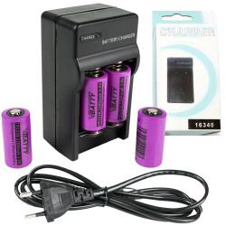 El cargador CR123 + 4x tipo de bateria CR123 3.0v 1200mAh