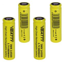 4x Tipo de bateria IMR 14500 3 7 v 880 mAh 12A CE